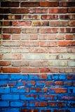 Rode en blauwe bakstenen muurtextuur Royalty-vrije Stock Afbeeldingen