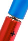 Rode en blauwe batterijen Royalty-vrije Stock Foto