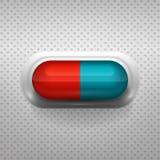 Rode en blauwe capsulepil met achtergrond Stock Foto's