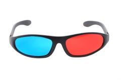 Rode en blauwe 3d plastic glazen Stock Afbeelding