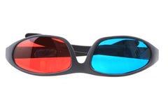 Rode en blauwe 3d plastic glazen Royalty-vrije Stock Fotografie