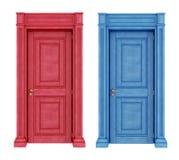 Rode en blauwe deuren uitstekende deuren Stock Afbeelding