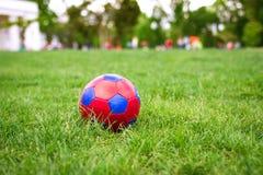 Rode en blauwe fotball op gras royalty-vrije stock foto