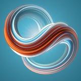 Rode en blauwe gekleurde verdraaide vorm De computer produceerde abstracte geometrische 3D teruggeeft illustratie Royalty-vrije Stock Foto