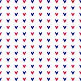 Rode en blauwe harten Naadloos patroon Stock Afbeeldingen