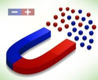 Rode en Blauwe Hoefijzermagneet. Vectorillustratie Stock Afbeeldingen