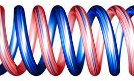 Rode en blauwe horizontale spiralen Stock Foto