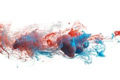 Rode en blauwe inkt Stock Afbeelding