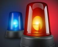 Rode en blauwe politielichten Stock Foto's