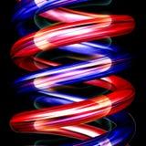 Rode en blauwe spiralenverticaal op zwarte Royalty-vrije Stock Afbeeldingen