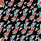 Rode en blauwe veelhoeken op een zwarte geometrische vectorillustratie als achtergrond Stock Fotografie