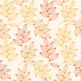 Rode en gele de herfstbladeren met aders naadloos patroon, vector vector illustratie