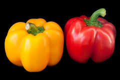 Rode en gele paprika. Royalty-vrije Stock Afbeelding