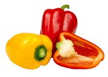 Rode en gele peper Stock Foto's