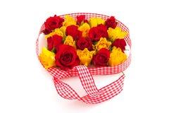 Rode en gele rozen Stock Foto