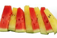 Rode en gele watermeloenplakken Stock Foto's