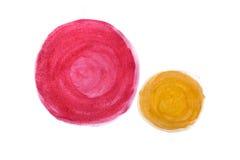 Rode en gele waterverf abstracte met de hand gemaakte cirkels Royalty-vrije Stock Fotografie