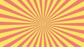 Rode en gele zonnestraalcirkel en achtergrondpatroonanimatie Gekleurde terug Pop van Art Style gele geanimeerde video als achterg stock video