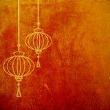 Rode en gouden abstracte geweven achtergrond met Chinese lantaarns Maan nieuw jaar artistiek behang stock illustratie