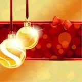 Rode en gouden banner met de ornamenten van Kerstmis Stock Fotografie