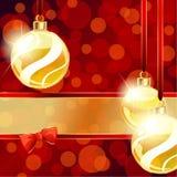 Rode en gouden banner met de ornamenten van Kerstmis Royalty-vrije Stock Fotografie