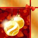 Rode en gouden banner met de ornamenten van Kerstmis Royalty-vrije Stock Foto