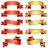 Rode en gouden banners Royalty-vrije Stock Foto's