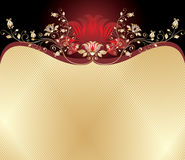 Rode en gouden bloemenachtergrond stock illustratie