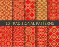 Rode en gouden Chinese patronen, vector Stock Afbeelding