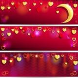 Rode en gouden harten Stock Foto