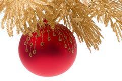 Rode en gouden Kerstmis   stock foto's