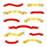 Rode en gouden lintbanners Uitstekende rollen Vector illustratie Stock Afbeelding