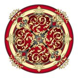 Rode en gouden oostelijke ornamentvector vector illustratie