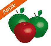 Rode en groene appel op witte achtergrond, de rode vector van de appel vector, groene appel, appelvector Royalty-vrije Stock Foto's
