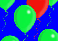 Rode en groene ballons Royalty-vrije Stock Afbeeldingen