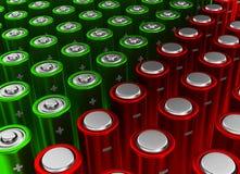 Rode en groene batterijen Stock Fotografie