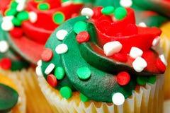 Rode en Groene Close-up Cupcake Stock Afbeeldingen