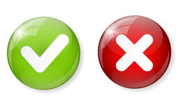 Rode en Groene Controle Mark Icon Button Vector Stock Fotografie