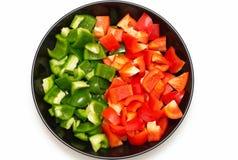 Rode en groene paprika Stock Afbeelding