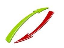 Rode en groene pijlen Stock Foto's