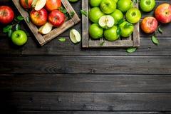 Rode en groene sappige appelen in houten dozen royalty-vrije stock foto's
