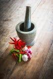Rode en groene Spaanse peper en rood ui en knoflook en steenmortier  Stock Foto