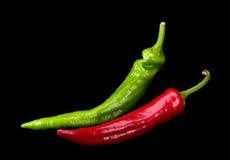 Rode en groene Spaanse peperpeper Royalty-vrije Stock Foto's
