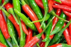 Rode en groene Spaanse peperpeper Stock Foto's