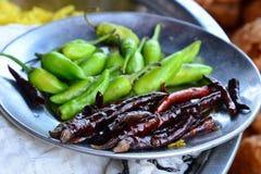 Rode en Groene Spaanse pepers Stock Fotografie