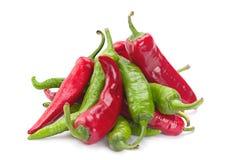 Rode en groene Spaanse peperspeper Royalty-vrije Stock Fotografie