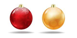 Rode en oranje Kerstboomballen Vector royalty-vrije stock afbeelding