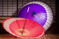Rode en Purpere Paraplu's Royalty-vrije Stock Afbeelding