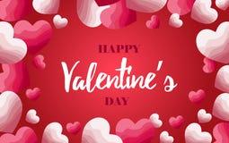 Rode en roze document harten met gradiëntachtergrond Vector illustratie Gelukkig de dagconcept van Valentine ` s Het gebruiken al stock illustratie