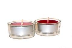 Rode en roze kaarsen Stock Foto's